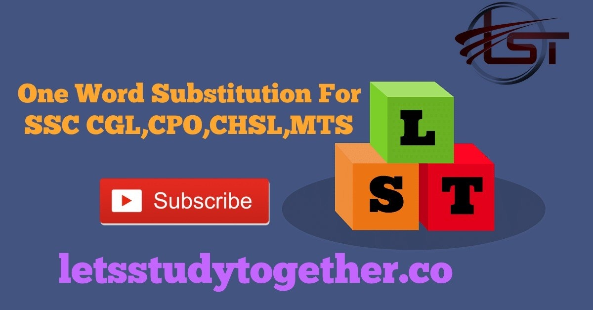 One Word Substitution for SSC CGL,CPO,CHSL,MTS