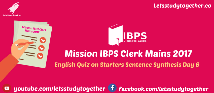 English Quiz on Starters Sentence Synthesis