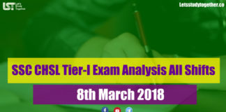 SSC CHSL Tier-I Exam Analysis 8th March 2018