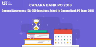 General Awareness (GA-GK) Questions Asked in Canara Bank PO Exam 2018