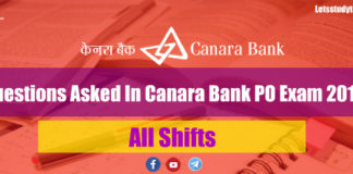 Questions Asked In Canara Bank PO Exam