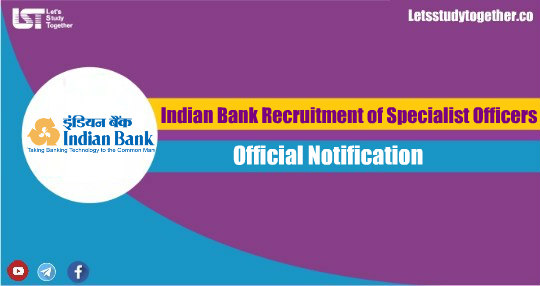 Indian Bank Recruitment of Specialist Officers