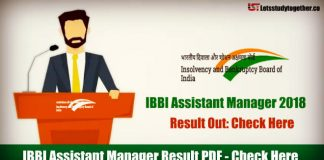 IBBI Assistant Manager 2018 Result Out: Check Here
