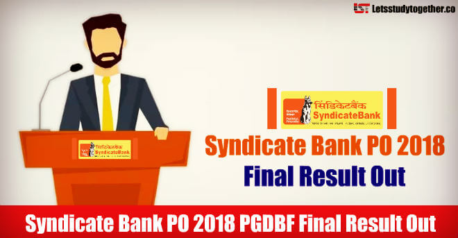 Syndicate Bank PO 2018 Final Result
