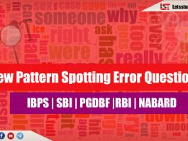 New Pattern Spotting Error Questions for SBI PO/Clerk 2018