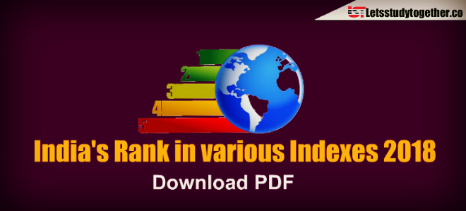 India's Rank in various Indexes 2018 (Updated) – Download PDF
