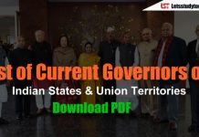 List of Governors of Indian States & Union Territories (Updated ) – Download PDF