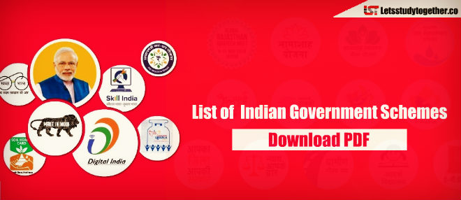 List of schemes launched by Indian Government - Download PDF