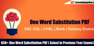 850+ One Word Substitution PDF for SSC CGL 2018 – Download Free Now