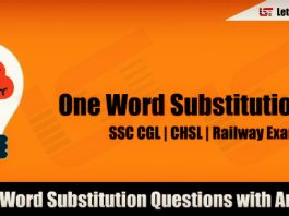 One Word Substitution Questions for SSC CGL 2018