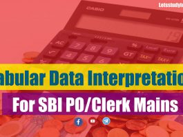 Tabular Data Interpretation for SBI PO/Clerk Mains