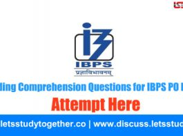 Reading Comprehension Questions for IBPS PO Prelims