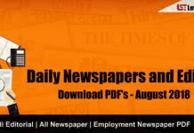 Daily Newspapers and Editorial PDF – August 2018