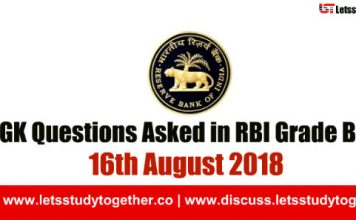 General Awareness ( GA-GK) Questions Asked in RBI Grade B Exam 2018 – Check Here