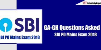 General Awareness ( GA-GK) Questions Asked in SBI PO Mains Exam 2018