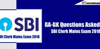 General Awareness ( GA-GK) Questions Askes in SBI Clerk Mains