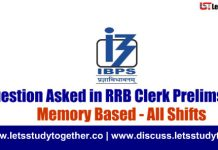 Question Asked in RRB Clerk Prelims 18th August 2018 - All Shifts