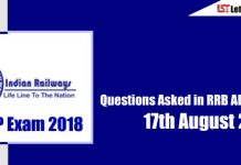 Questions Asked in RRB ALP Exam ( Englisg & Hindi) - 17th August 2018 ( All Shifts)