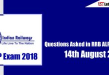 Questions Asked in RRB ALP Exam ( Englisg & Hindi) - 14th August 2018 ( All Shifts)
