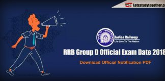 RRB Group D Official Exam Date 2018 Out : Download Official Notification PDF