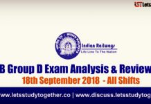 RRB Group D Exam Analysis & Reviews All Shifts – 18th September 2018
