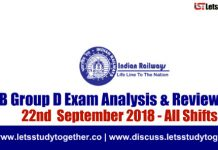RRB Group D Exam Analysis & Reviews All Shifts – 22nd September 2018