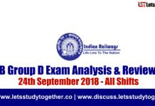 RRB Group D Exam Analysis & Reviews All Shifts – 24th September 2018