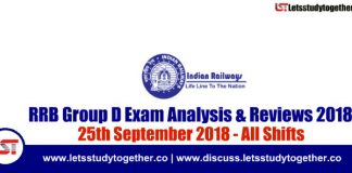 RRB Group D Exam Analysis & Reviews All Shifts – 25th September 2018