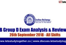 RRB Group D Exam Analysis & Reviews All Shifts – 26th September 2018