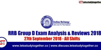 RRB Group D Exam Analysis & Reviews All Shifts – 27th September 2018