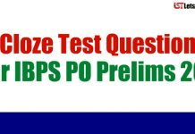 Cloze Test Questions For IBPS PO Prelims 2018