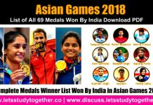 Asian Games 2018 – List of All 69 Medals Won By India Download PDF
