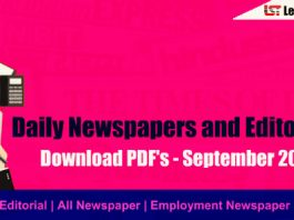 Daily Newspapers and Editorial PDF – September 2018
