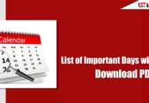 List of Important Days with Themes 2018 - Download PDF