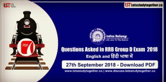 Questions Asked in RRB Group D Exam ( English & Hindi) PDF – 27th Sept. 2018 ( All Shifts)