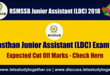 RSMSSB LDC & Junior Assistant Expected Cut off Marks 2018 - Check Here