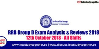 RRB Group D Exam Analysis & Reviews All Shifts – 12th October 2018