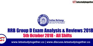 RRB Group D Exam Analysis & Reviews All Shifts – 5th October 2018