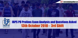IBPS PO Prelims Exam Analysis and Questions Asked (3rd Shift) - 13th October 2018
