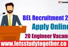 BEL Recruitment 2018 - Apply Online 20 Engineer Vacancies