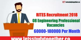 RITES Recruitment 2018 - 08 Engineering Professional Vacancies