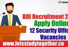 BOI Recruitment 2018 - Apply Online 12 Security Officer Vacancies