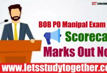 BOB PO Manipal Exam 2018 Scorecard - Marks Out