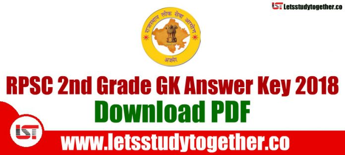 RPSC 2nd Grade GK Answer Key 2018 - 28th October 2018