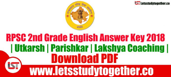 RPSC 2nd Grade English Question Paper Answer key PDF By - Parishkar | Lakshya Coaching