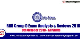 RRB Group D Exam Analysis & Reviews All Shifts – 9th October 2018
