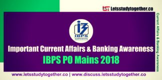 Current Affairs & Banking Awareness Questions For IBPS PO Mains 2018   Set - 62