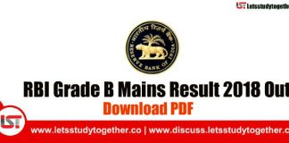 RBI Grade B Mains Result 2018 Out - Download PDF Here