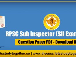 RPSC Sub Inspector (SI) Question Paper PDF - 7th October 2018