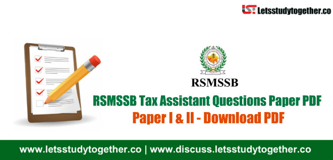 RSMSSB Tax Assistant Questions Paper PDF - 14th October 2018